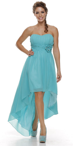 High Low Strapless Ruched Bodice Jade Bridesmaid Dress