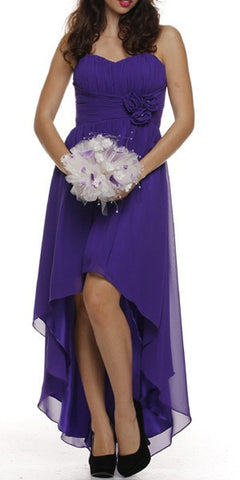 High Low Strapless Ruched Bodice Purple Bridesmaid Dress