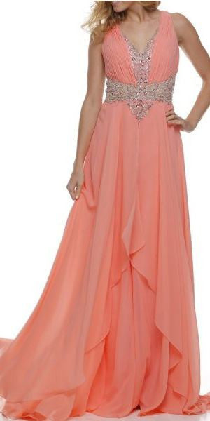 Layered Long Sleeveless Sheer Waist Coral Chiffon Dress
