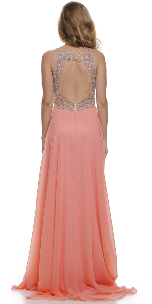 Layered Long Sleeveless Sheer Waist Coral Chiffon Dress Back