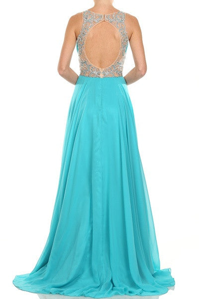 Layered Long Sleeveless Sheer Waist Jade Chiffon Dress Back