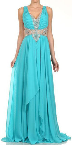 Layered Long Sleeveless Sheer Waist Jade Chiffon Dress