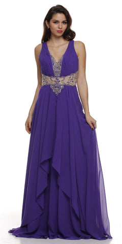 Layered Long Sleeveless Sheer Waist Purple Chiffon Dress
