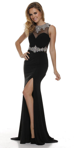 Bashful V-Neck Sheer Inset Appliqued Long Formal Dress Sleeveless