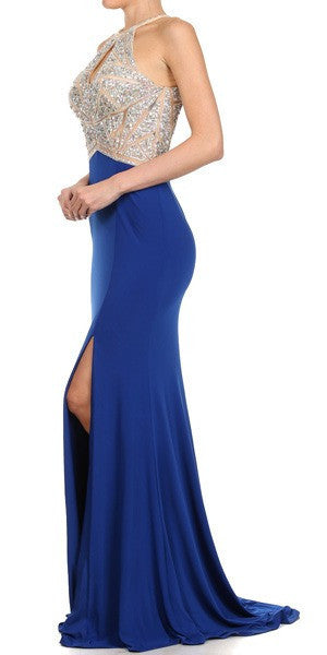 Thigh Slit Halter Neck Keyhole Front Royal Nude Column Prom Dress Back