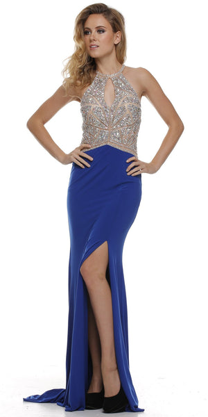 Thigh Slit Halter Neck Keyhole Front Royal Blue Nude Column Prom Dress
