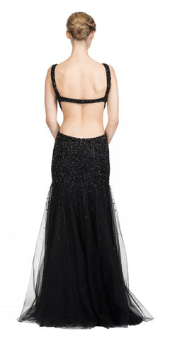Bateau Neckline Studded Sleeveless Black Trumpet Gown