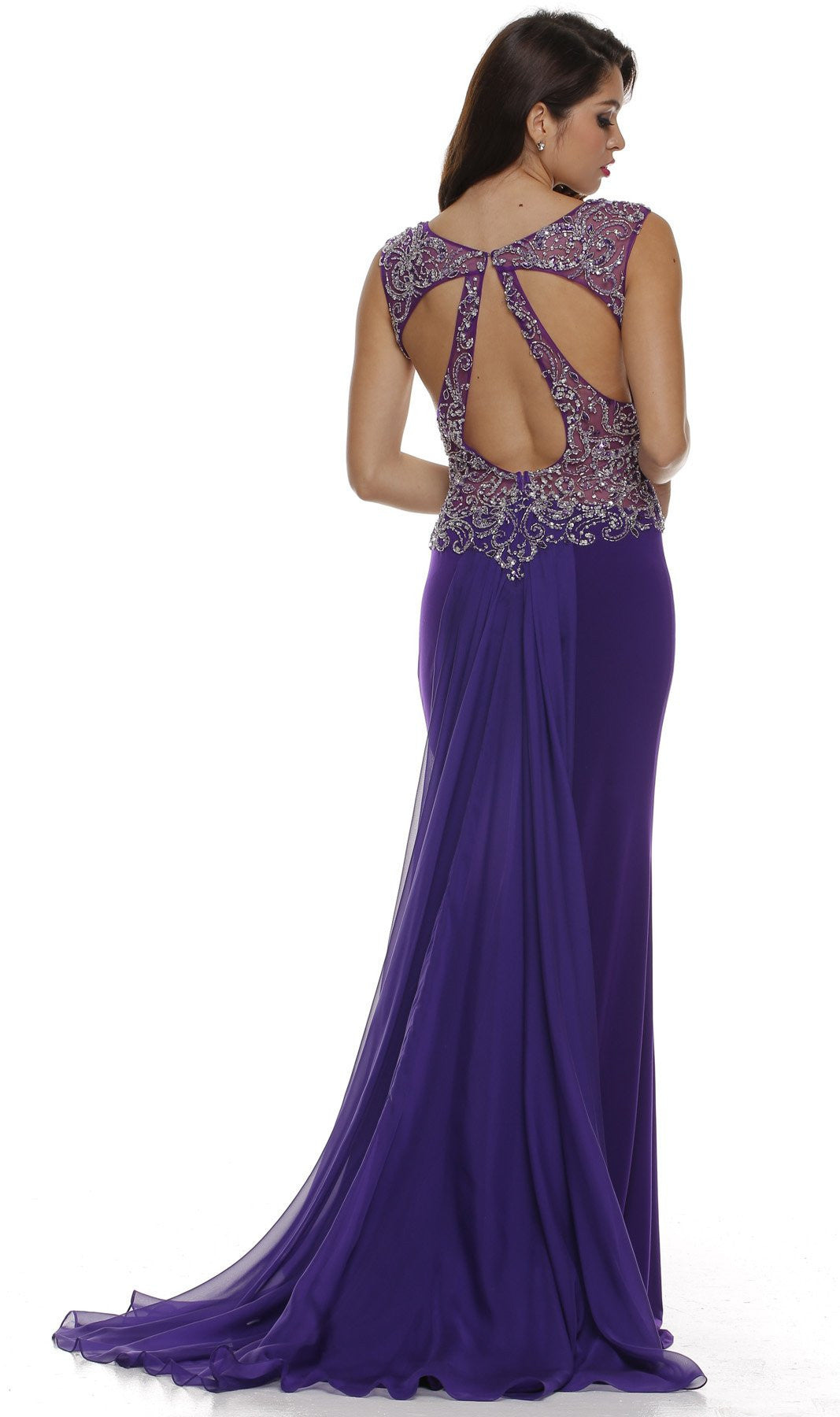 Keyhole Back Thigh Slit Purple Studded Party Gown Back
