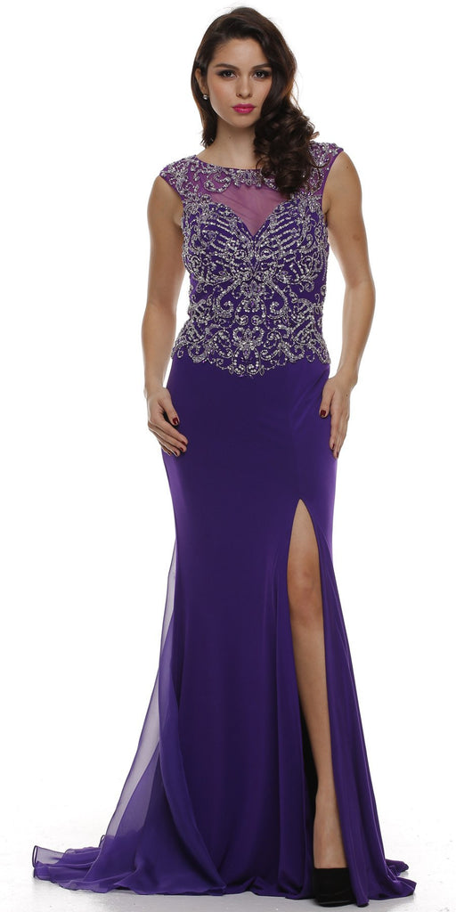 Keyhole Back Thigh Slit Purple Studded Party Gown