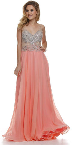 V Neck Studded Sheer Bodice Coral Long Reception Dress