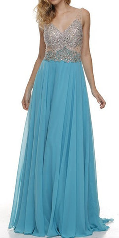 V Neck Studded Sheer Bodice Jade Long Reception Dress