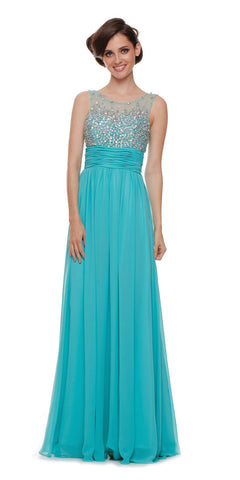 Studded Bateau Neck Ruched Empire Waist Jade Formal Dress