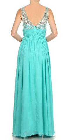 Studded Bateau Neck Ruched Empire Waist Jade Formal Dress Back