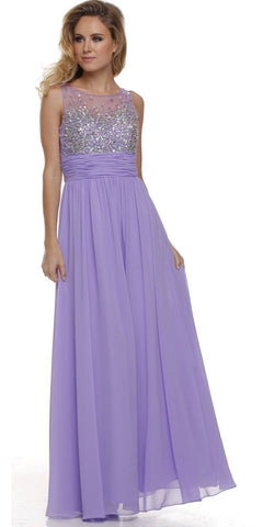 Studded Bateau Neck Ruched Empire Waist Lilac Formal Dress