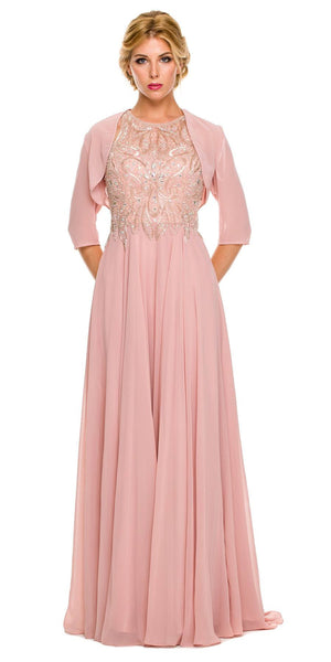 Dusty Rose Long Formal Gown A Line Beaded Bodice Includes Jacket