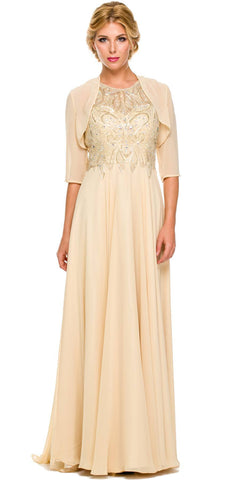 Gold Long Formal Gown A Line Beaded Bodice Includes Jacket