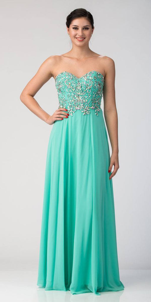 Starbox USA 585 Floor Length Formal Mint Chiffon Gown Strapless Beaded Bodice