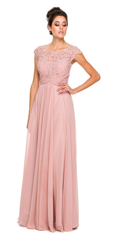 Plus Size Dusty Rose Formal Gown Cap Sleeve Empire Waist Full Length