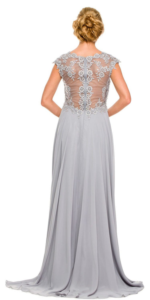 Plus Size Silver Formal Gown Cap Sleeve Empire Waist Full Length Back