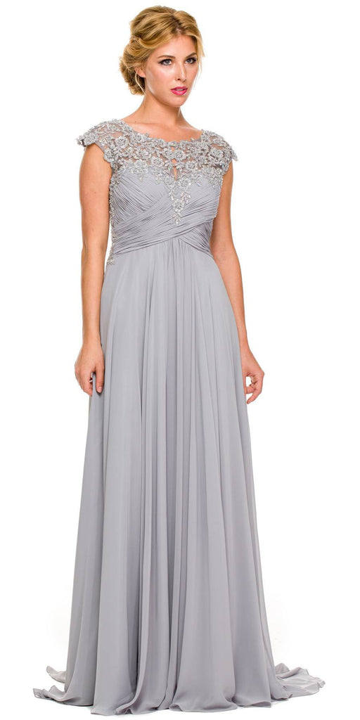 Plus Size Silver Formal Gown Cap Sleeve Empire Waist Full Length