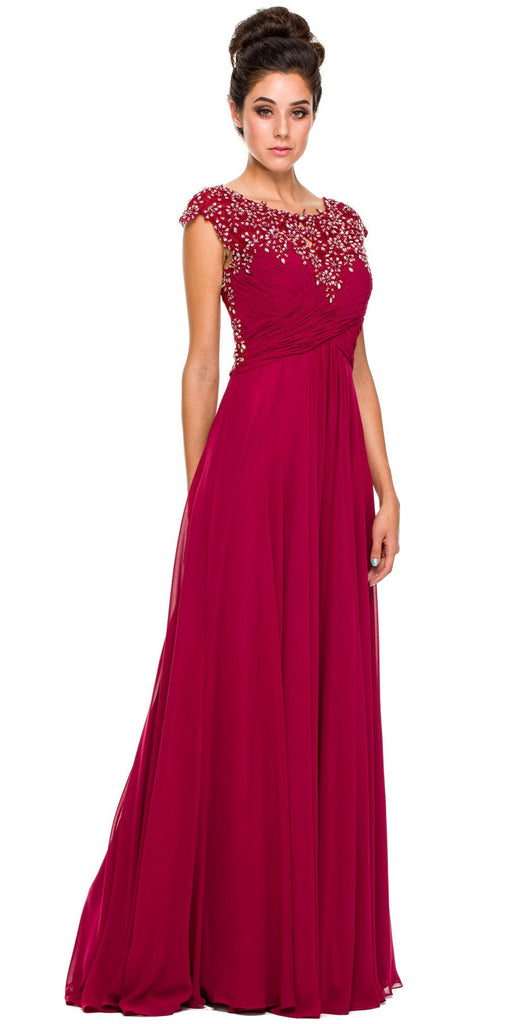 Plus Size Wine Formal Gown Cap Sleeve Empire Waist Full Length