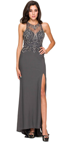 Long Sexy Charcoal Formal Gown High Slit Open Back Beads/Stone