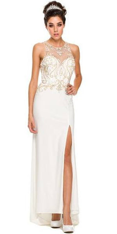 Long Sexy Off White Formal Gown High Slit Open Back Beads/Stone