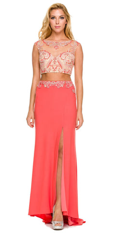 Long Coral Formal 2 Piece Gown Cap Sleeve Sexy Front Slit