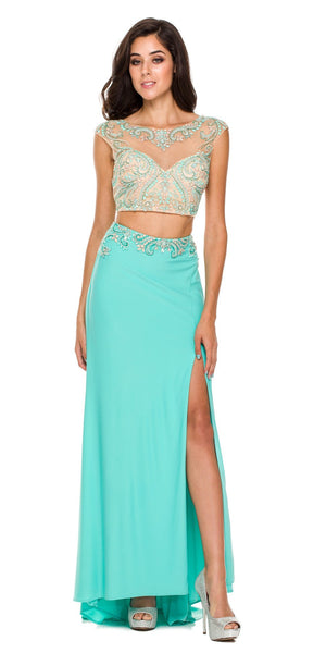 Long Jade Formal 2 Piece Gown Cap Sleeve Sexy Front Slit