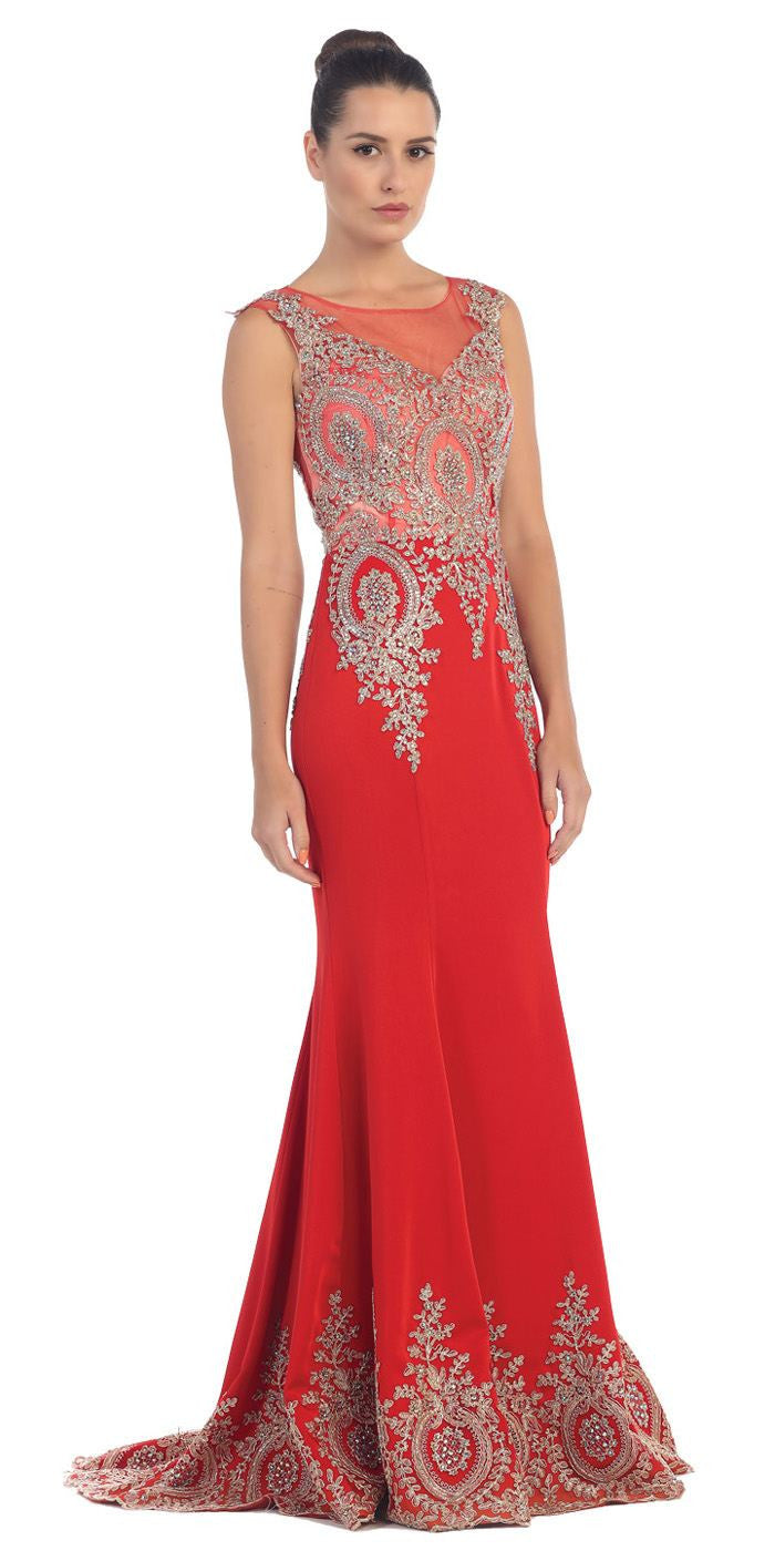 Unique Red Carpet Gown Red Gold Floor Length Cap Sleeve Embroidery ...