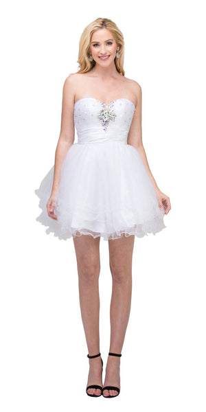 Ruffled Skirt Ruched Waist Off White Short Prom Dress