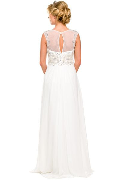 Floor Length Off White Formal Gown Beaded Bodice Illusion Neck Back