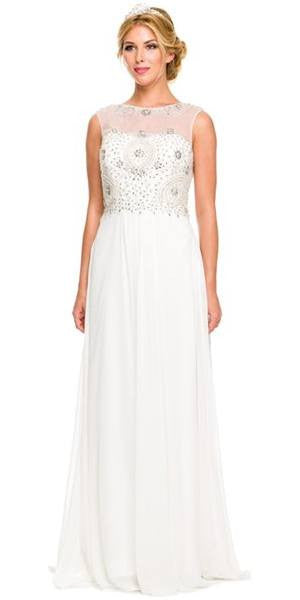 Floor Length Off White Formal Gown Beaded Bodice Illusion Neck