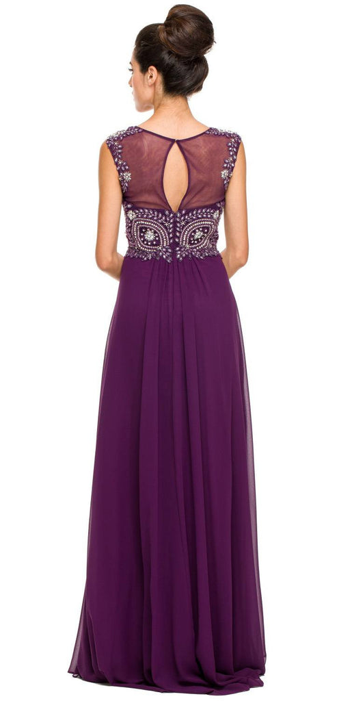 Floor Length Plum Formal Gown Beaded Bodice Illusion Neck Back