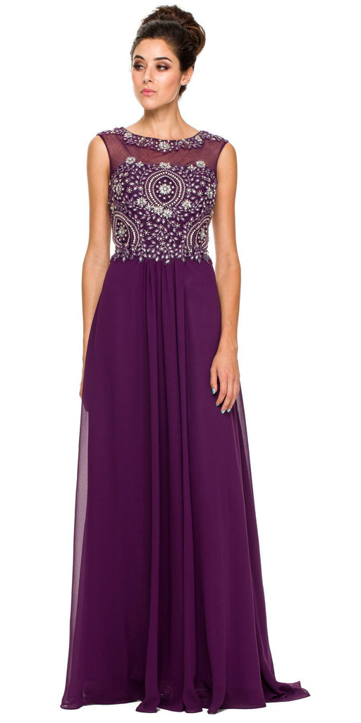 Floor Length Plum Formal Gown Beaded Bodice Illusion Neck
