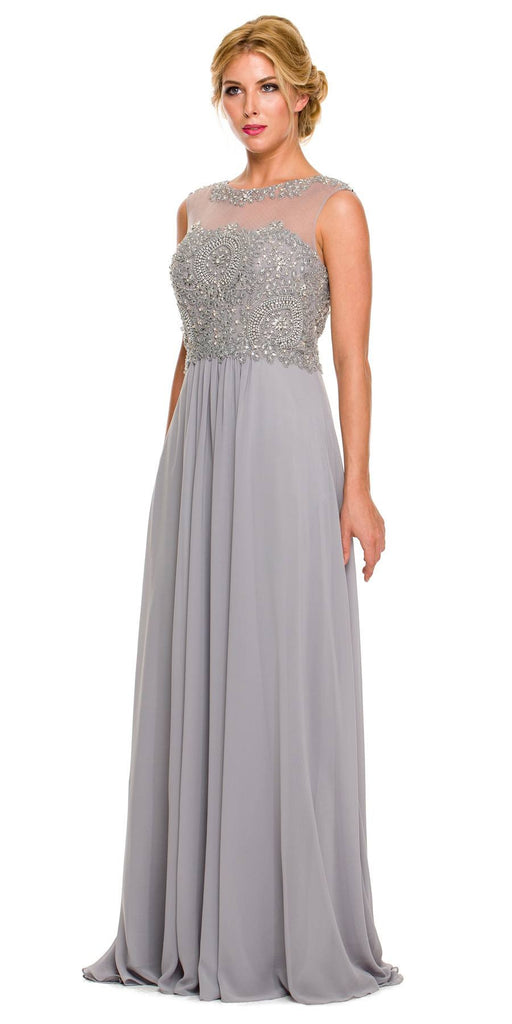Floor Length Silver Formal Gown Beaded Bodice Illusion Neck