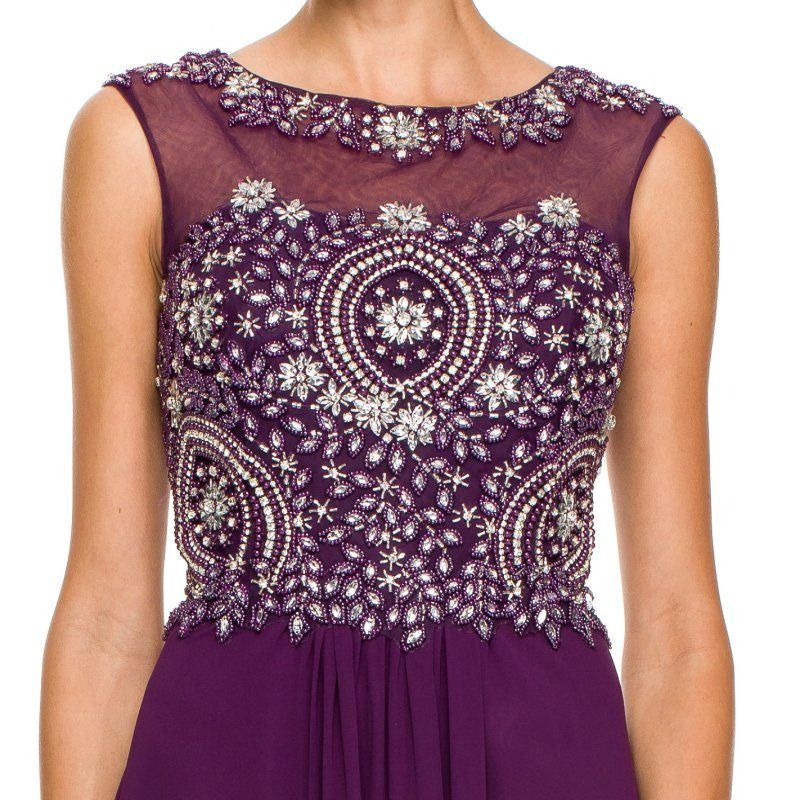 Floor Length Plum Formal Gown Beaded Bodice Illusion Neck Zoom