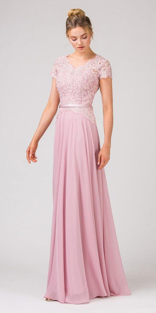 Lace Bodice A-Line Long Formal Dress Short Sleeves Dusty Pink