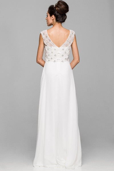 Floor Length Off White Chiffon Formal Gown Cap Sleeve Bateau Neck