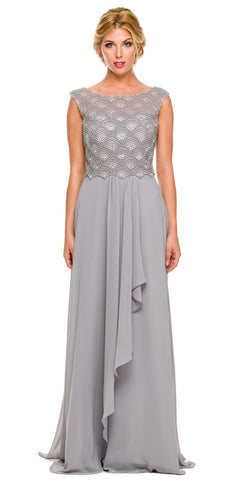 Floor Length Silver Chiffon Formal Gown Cap Sleeve Bateau Neck
