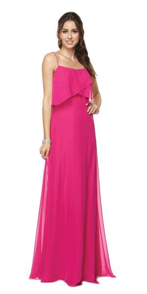 Fuchsia Long Bridesmaid Dress Ruffled Bodice
