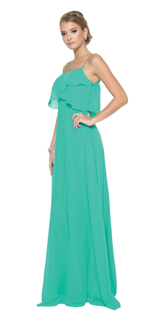 Kelly Green Long Bridesmaid Dress Ruffled Bodice