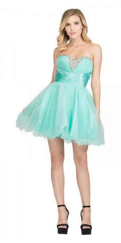 Starbox USA 595 Short Ruched Sweetheart Bodice Mint A Line Prom Dress