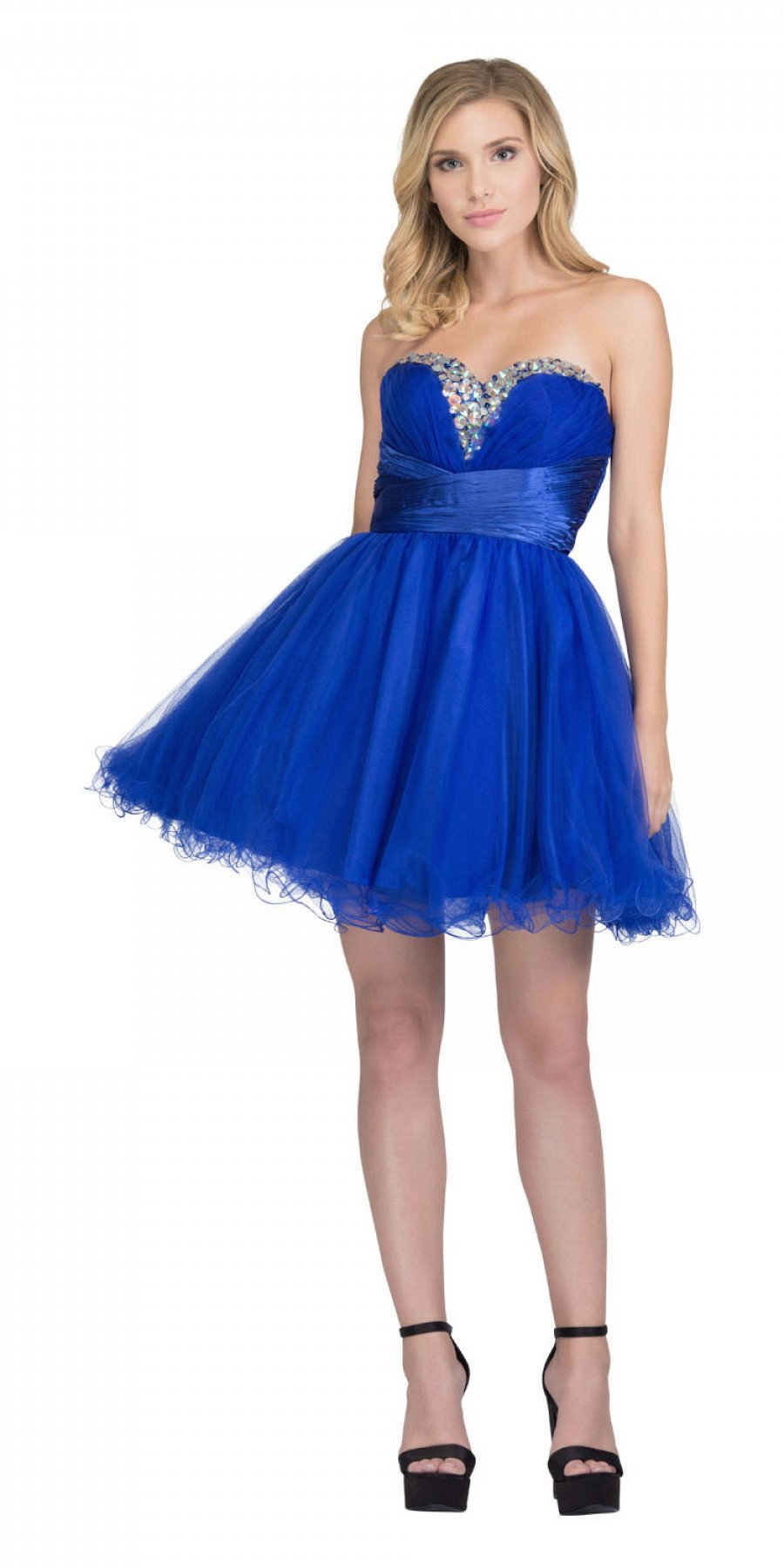 6305003ed0c Rhinestone Studded Neck Ruched Short Royal Blue Prom Dress. Tap to expand