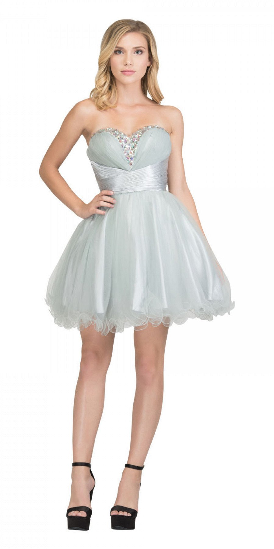 388b9578af4 Rhinestone Studded Neck Ruched Short Silver Prom Dress. Tap to expand