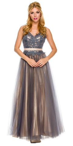 Enchanting Gray A Line Gown Tank Strap V Neck Tulle/Satin