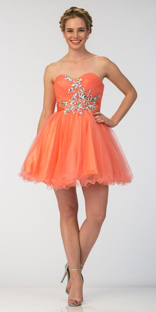 0529a811f06 Ruched Sweetheart Studded Short Coral Homecoming Dress. Tap to expand