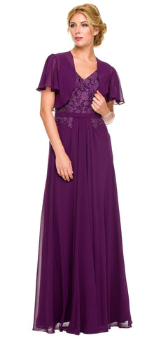 Bolero Jacket Plum Formal Gown Chiffon V Neck Tank Straps