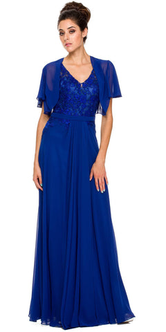 Bolero Jacket Royal Blue Formal Gown Chiffon V Neck Tank Straps