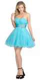 Short Light Blue Poofy A-Line Party Dress Ruched Strapless Sweetheart